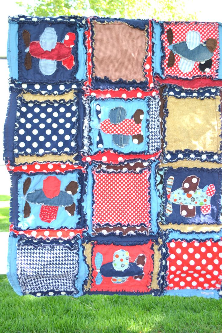 Boy Rag Quilt With Applique Airplanes In Blue Red And