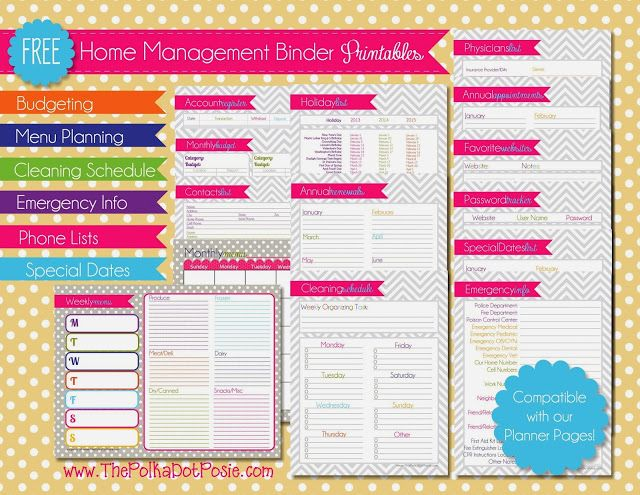 The Polka Dot Posie: Free Planner and Home Management Binder Printables (full and half sheet)