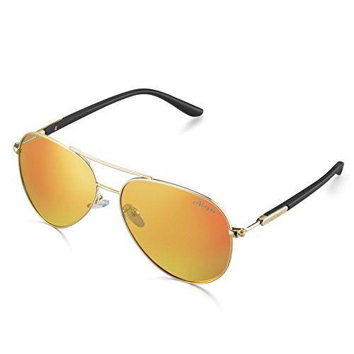 950fda56b12 Aloyse Polarized Aviator Sunglasses For Men Women Metal Frame UV Protection  Classic Sun Glasses