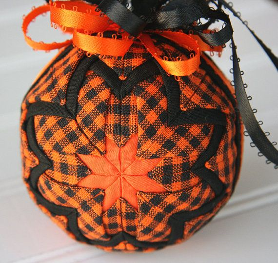 Autumn Quilted Ornament Ball/Orange and Black by YouniqueOrnaments, $25.00