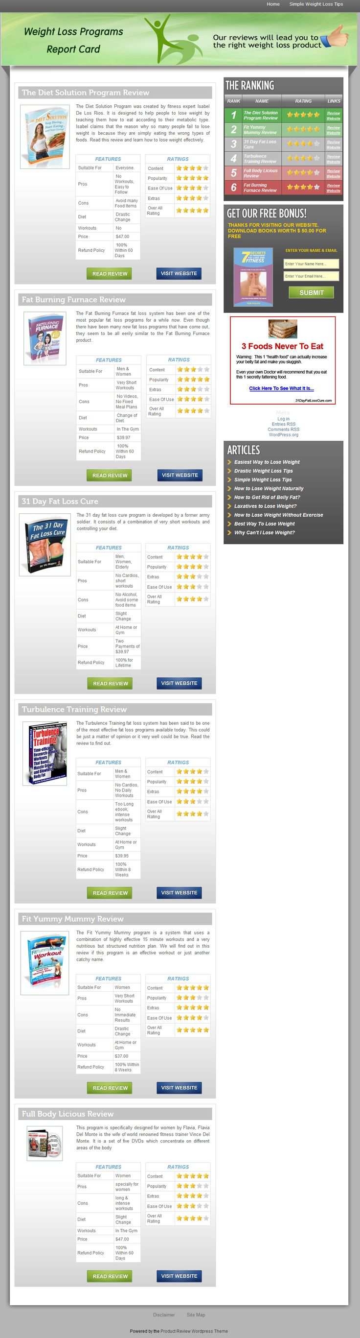 Read honest and candid reviews and ratings of different weight loss programs available online and chose the right one for yourself. The reviews clearly describe what the product is claiming, its content and the plus and minus points about the product >> how to lose weight effectively, best weight loss program, online weight loss programs --> www.weightlossprogramsreportcard.com