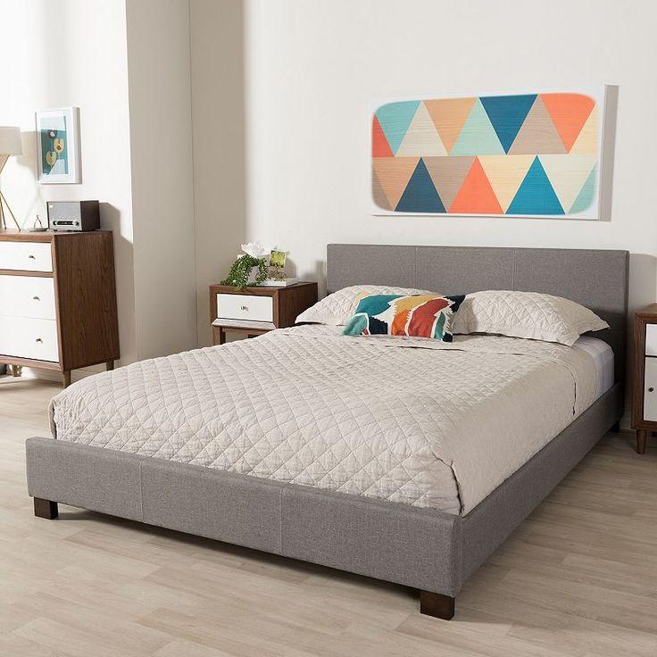 Baxton Studio Elizabeth Contemporary Platform Bed, Grey