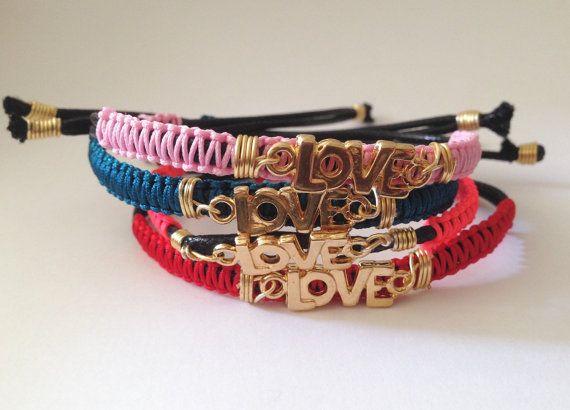 Pulseras macrame LOVE MACRAME handmade Bracelets por SisStyles1725
