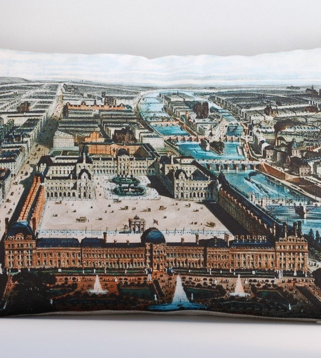 Vintage BIRD'S EYE VIEW OF PARIS 14″ x 20″ Pillow Cover: Vintage Birds, Birds Eye View