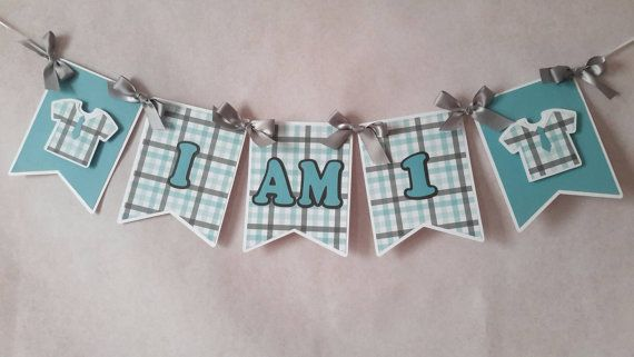 Light Blue and Gray Banner. I Am One Birthday Banner.Boy First Birthday Banner.Toddler Birthday Party.High Chair Banner