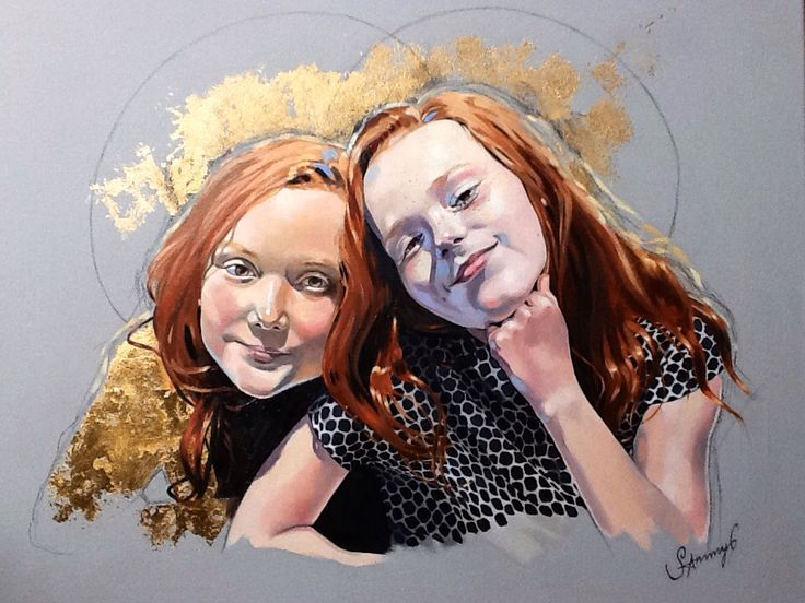 An oil-painting portrait commission of two sisters, using gold leaf, which I love to include in a painting if I can.