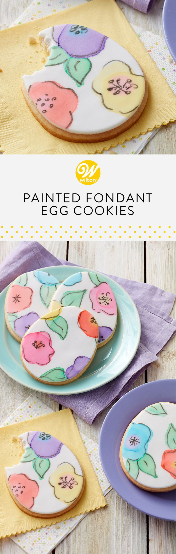 Get your art on by using icing colors as watercolors and coloring Easter egg cookies! #wiltoncakes #cookies #cookieideas #easter #eastercookies #easterideas #easterdesserts #fondant #painted #paintedcookies #inspiration