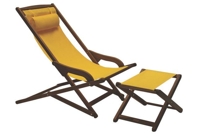 Mae Sunbrella Lounger w/ Ottoman, Yellow