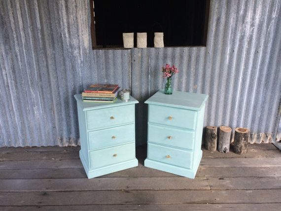 Rustic Aqua/Powder blue Bedside tables with by nerivercottage