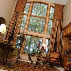 Custom Window Treatments - Here are some custom extra tall win...