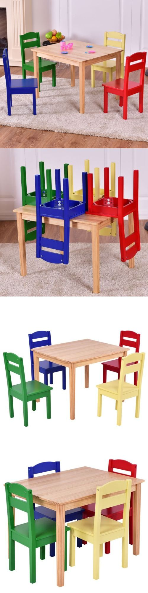 Play Tables and Chairs 66743: Kids 5Pcs Wooden Table And Chair Set Fun Children Learning Activity Furniture Us -> BUY IT NOW ONLY: $87.99 on eBay!
