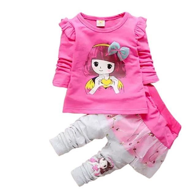 BibiCola Chicas juegos de ropa de Bebé niña de dibujos animados T-shirt + pant del cabrito Arco ropa de juego del ocio Del color Del Caramelo Floral ropa