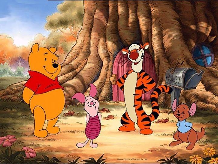 Pooh Bear, Piglet, Tigger, and Roo