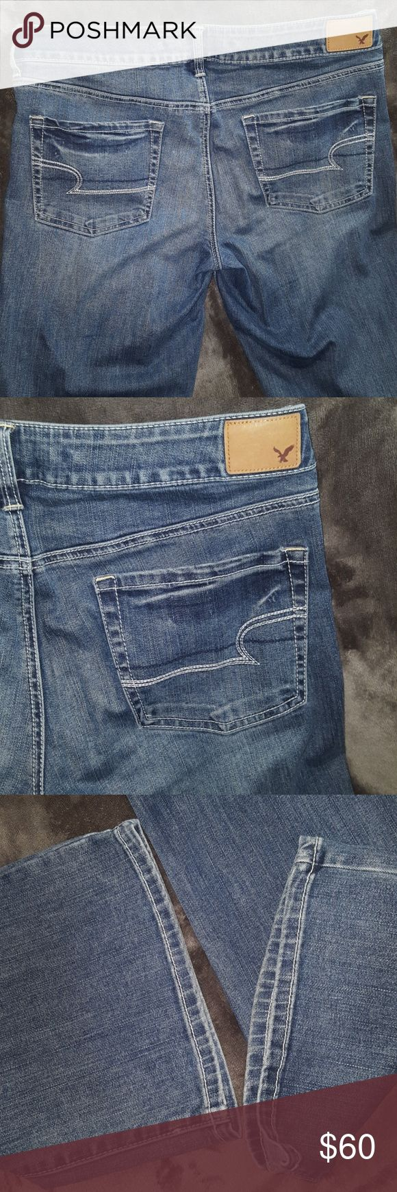 FAVORITE BOYFRIEND X LONG American Eagle Jeans NEW FAVORITE BOYFRIEND SUPER STRETCH AMERICAN EAGLE JEANS  New without Tags ~ Ladies size 12 X-LONG LENGTH ~ 71% cotton 15% viscose 12% polyester 2% elastane. Medium wash Jeans with the lighter whiskered effects in front and legs. Perfect for casual or dressy wear. I ship daily. Rise: about 10 inches Inseam: about 35.5 inches American Eagle Outfitters Jeans Boyfriend