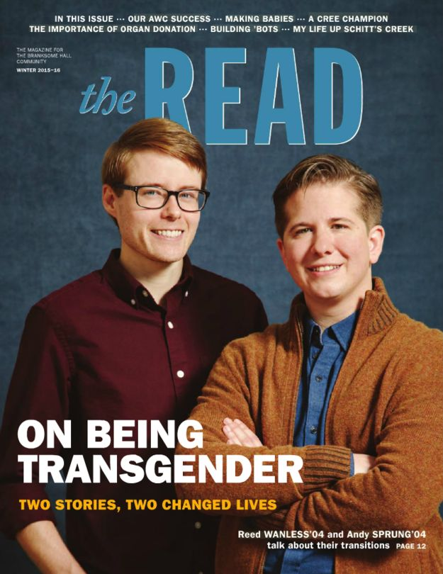 An all-girls school is celebrating two transgender alumni in its annual magazine.