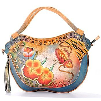 704-255 - Anuschka Hand Painted Leather Convertible Hobo Bag