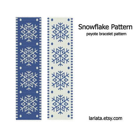 Snowflake Pattern - Peyote Stitch Bracelet Pattern - INSTANT DOWNLOAD. $5.99, via Etsy.