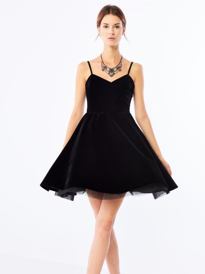 Welurowa sukienka z tiulem, MOHITO