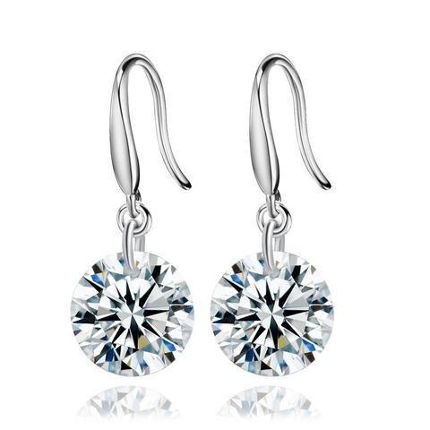 Sterling Silver 925 Simulated Diamond Elegant Cubic Zirconia Earrings