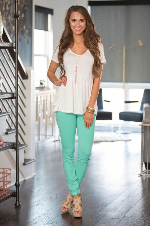 Mint Skinny Jeggings - The Pink Lily