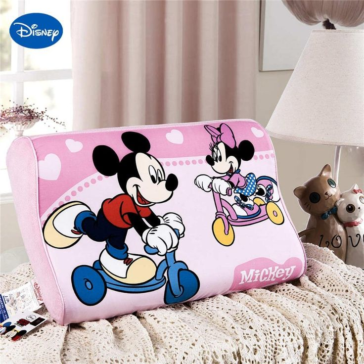 Mickey & Minnie Mouse Playing 16inx10in Memory Foam Cervical Neck Pillow