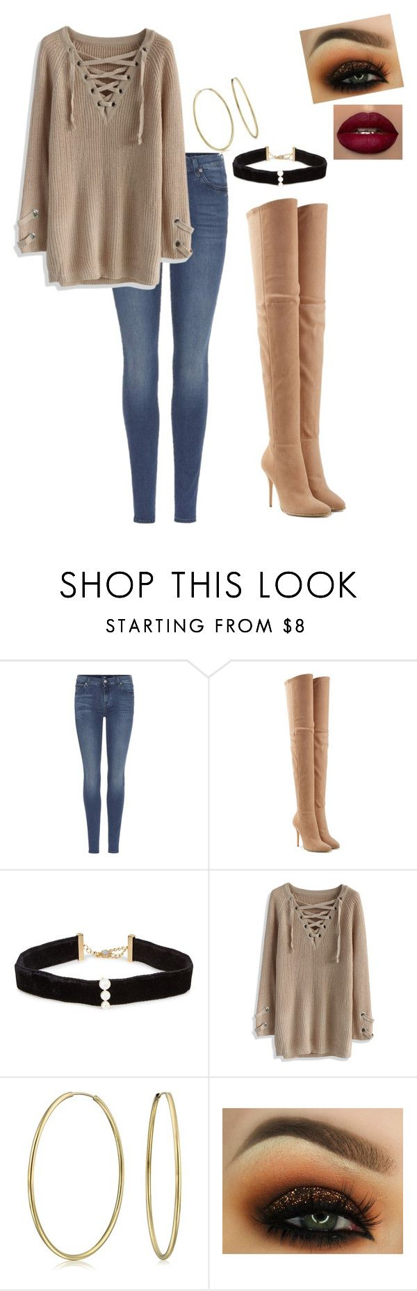 """""""OOTD for tomorrow: last day of school and finals before Xmas break"""" by vireheart ❤ liked on Polyvore featuring 7 For All Mankind, Balmain, Anissa Kermiche, Chicwish and Bling Jewelry"""