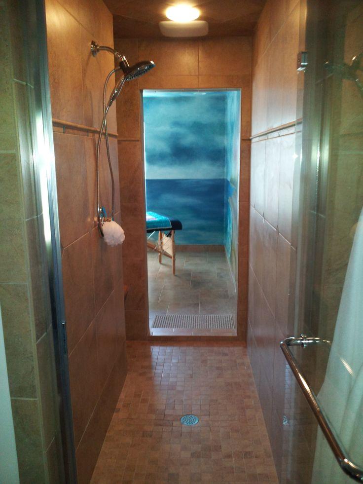Walk through shower off master bedroom Beach Bathroom