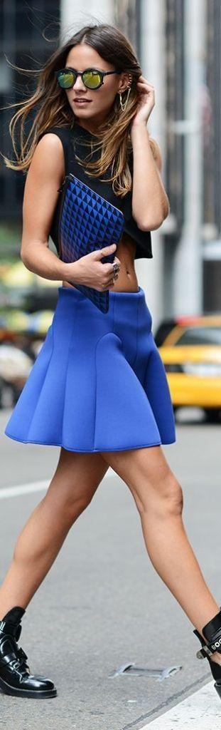 #summer #fashion / crop top + blue