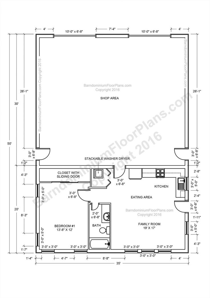 Apartments barndominium floor plans pole barn house and for Pole barn with apartment floor plans