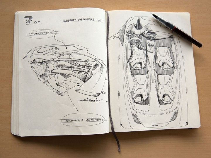 BMW 7 Series Sketchbook with Interior Design Sketches