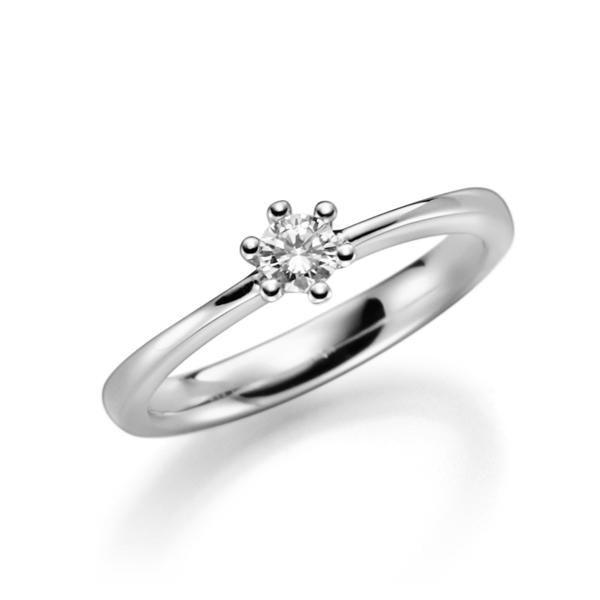 Verlobungsring, Solitaire Weißgold 585 6 Krappen, Zungenschiene gewölbt 0,2ct. Eternal Touch.    Engagement ring, Solitaire white gold 585, diamond 0.2ct.