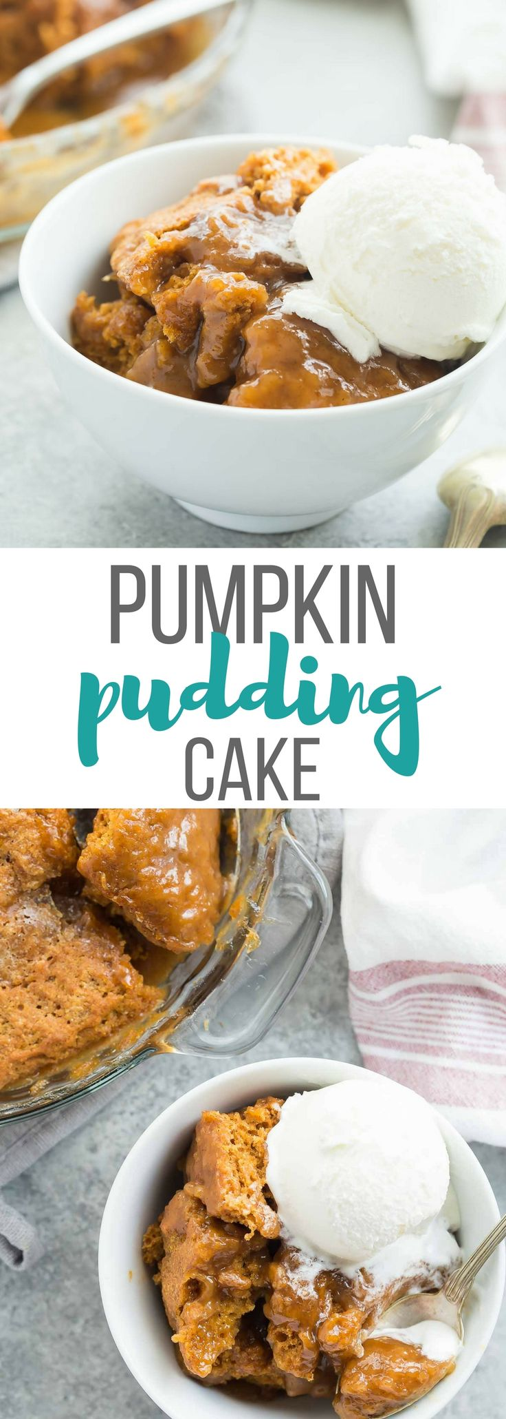 This Easy Pumpkin Pudding Cake takes just 10 minutes prep and makes it's own caramel pudding sauce as it bakes! #fall #Thanksgiving #desserts