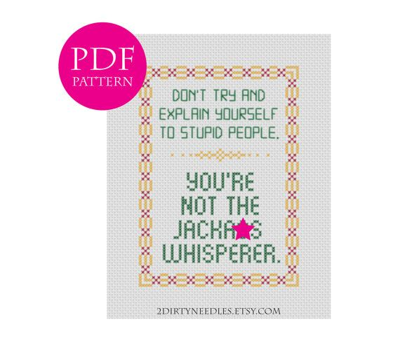 Dont try and explain yourself to stupid people. - Counted cross stitch PDF PATTERN [mature]