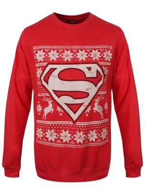 DC Comics Superman Fair Isle Logo Red Sweatshirt