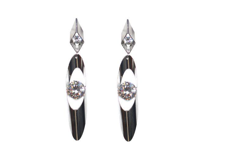latest fashion long white metal earring