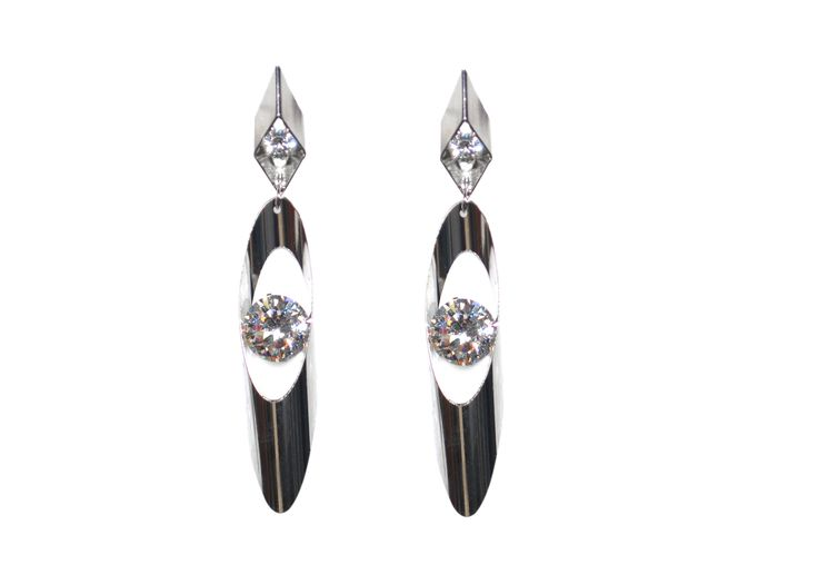 latest fashion long white metal earring