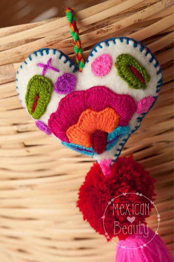 Mexican Felt Hearts / Hand Embroidered hearts with pom-poms /