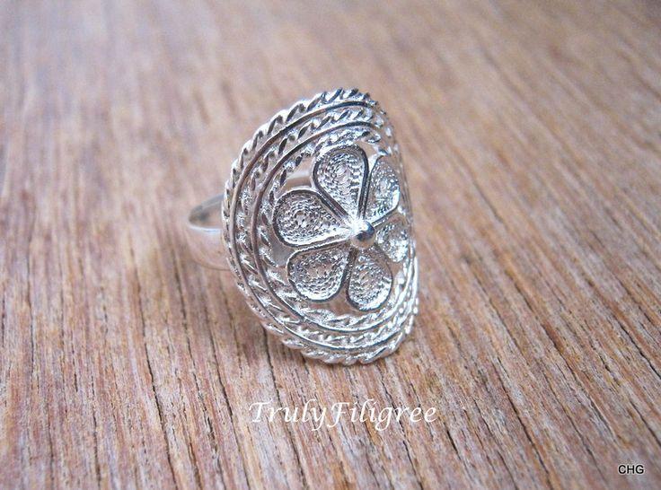 Silver Filigree Ring,Unique Ring,Handmade Filigree Ring,Silver Filigree Ring Size 5