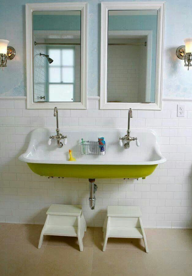 Double sink kids bathroom kids bathroom pinterest - Double sink bathroom decorating ideas ...