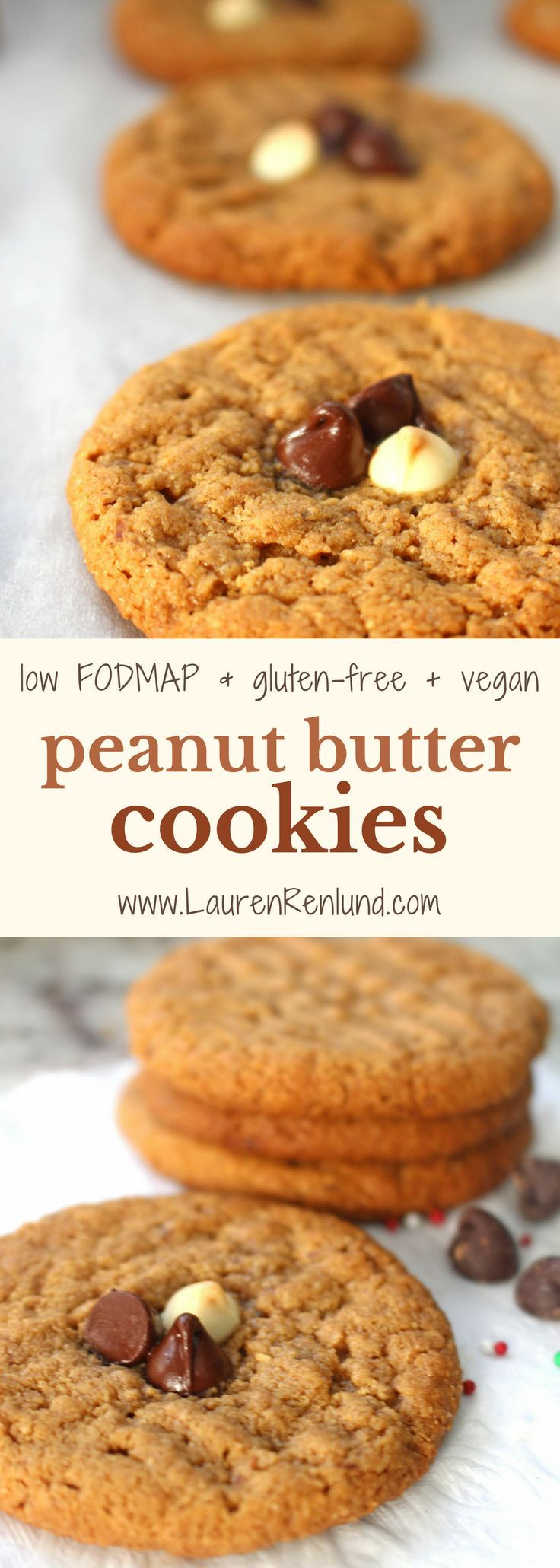 These simple low FODMAP peanut butter cookies only have 3 essential ingredients, so easy to make! Also gluten-free, dairy-free and vegan!