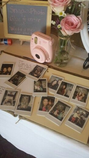 Rustic chic bridal shower guest book polaroid