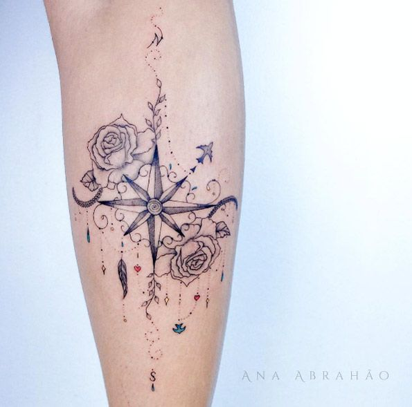 Cute compass tattoo by Ana Abrahao