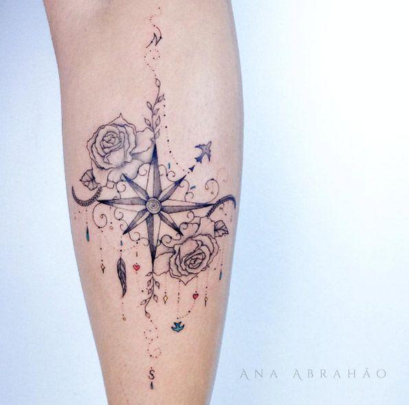 Cute compass tattoo by Ana Abrahao