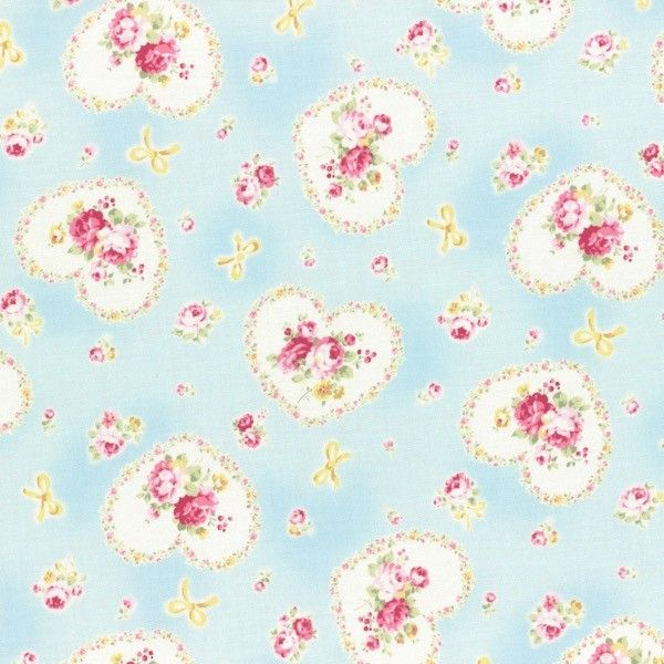 Lecien - Princess Rose - Hearts - Blue £3.25 http://www.thehomemakery.co.uk/lecien-princess-rose-hearts-blue