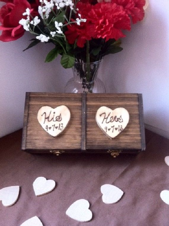 Wedding Ring Box - His and Her's Ring Box Lined with Satin Color of Your Choice - Bride and Groom Wedding Ring Box on Etsy, $29.99