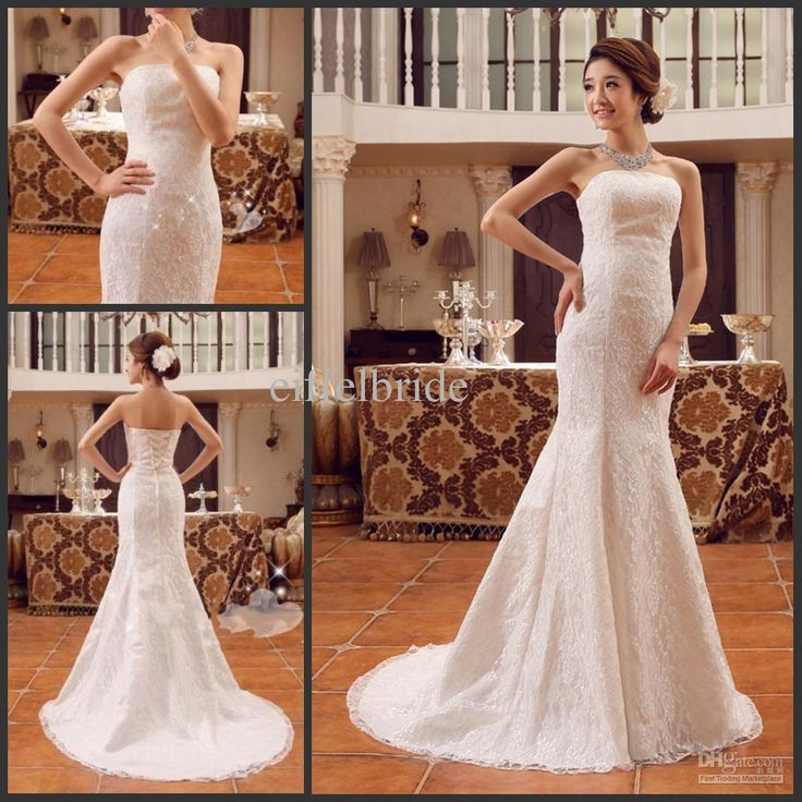 2013 Cheap Graceful Lace Wedding Dresses With Sexy Strapless Glamorous Mermaid Lace Up Back Sweep Train Bride Gowns Wedding Dresses For Older Brides Wedding Gowns 2015 From Eiffelbride, $82.78| Dhgate.Com