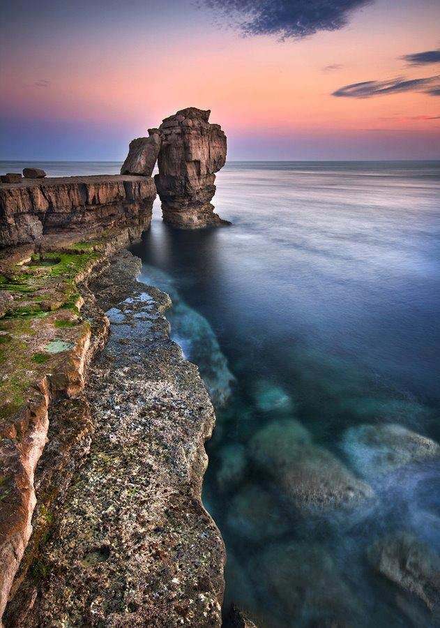 This is the iconic Pulpit Rock in Portland, Dorset