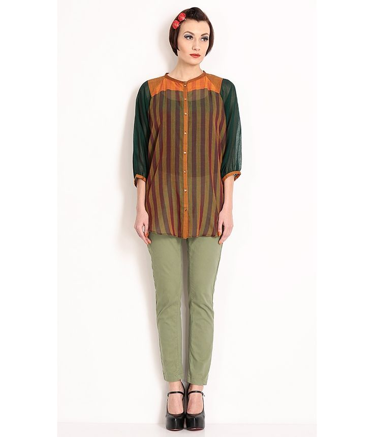 Nida Mehmood Green Striped Handloom Oversized Top, http://www.snapdeal.com/product/nida-mehmood-green-striped-handloom/98045906