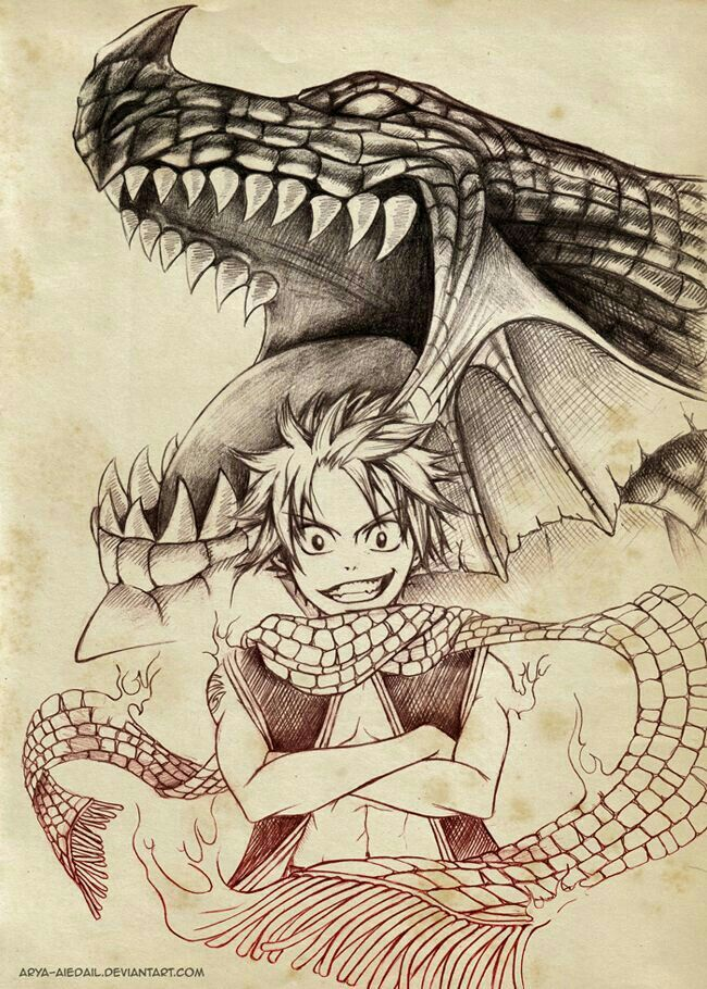 Natsu, Igneel, family, Dragon, Dragon Slayer; Fairy Tail