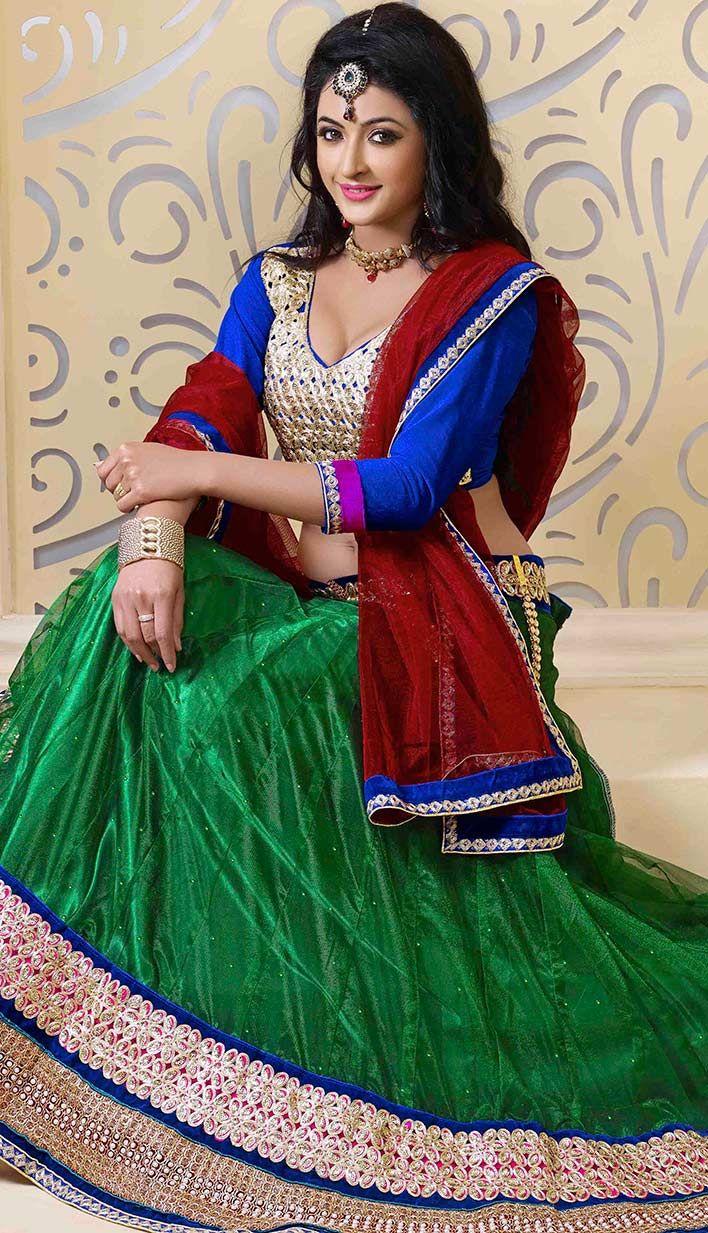 Buy Latest Bollywood Latest Green Nett Designer Lehenga Choli  #LehengaCholi Link- http://alturl.com/2mdg6